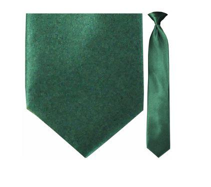"Tie - Men's Solid Forest Green Clip-On Tie (Sizes 17"", 19"", 21"" + 23"")"