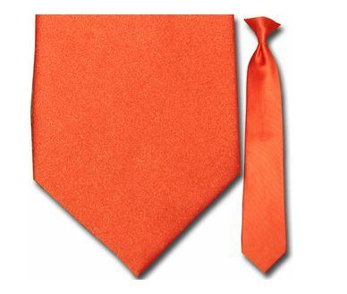 "Tie - Men's Solid Orange Clip-On Tie (Sizes 17"", 19"", 21"" + 23"")"