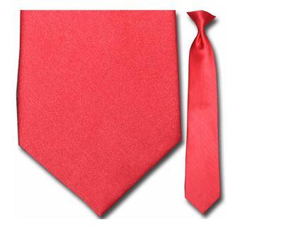 "Tie - Men's Solid Red Clip-On Tie (Sizes 17"", 19"", 21"" + 23"")"