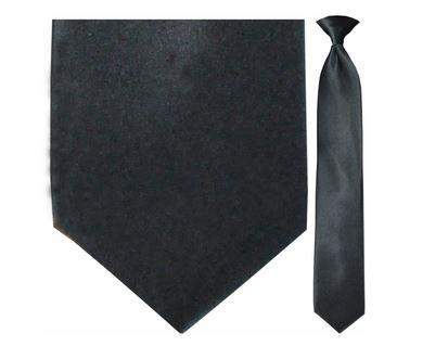 "Tie - Men's Solid Satin Black Clip-On Tie (Sizes 17"", 19"", 21"" + 23"")"