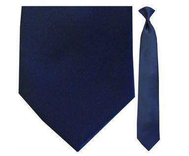 "Tie - Men's Solid Satin Navy Clip-On Tie (Sizes 17"", 19"", 21"" + 23"")"