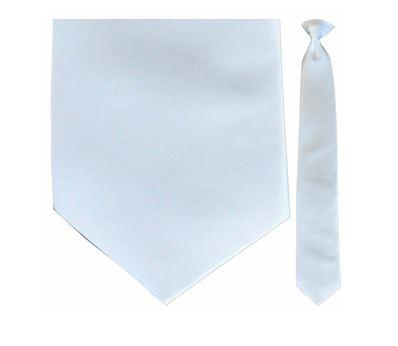 "Tie - Men's Solid Satin White Clip-On Tie (Sizes 17"", 19"", 21"" + 23"")"