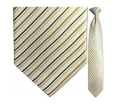 "Tie - Men's Sparkling White And Gold Striped Clip-On Tie (Sizes 17"", 19"", 21"" + 23"")"