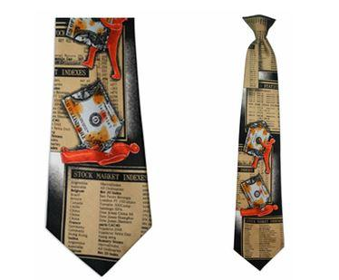 "Tie - Men's Wall Street Theme Clip On Tie (Sizes  19"" And 21"")"