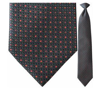 "Tie - Men's Woven Black And Red Dot Pattern Clip-On Tie (Sizes 17"", 19"", 21"" + 23"")"