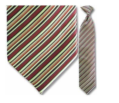 "Tie - Men's Woven Green And Red Striped Clip-On Tie (Sizes 17"", 19"", 21"" + 23"")"