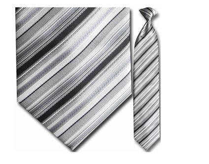 "Tie - Men's Woven Monochrome Stripe Clip-On Tie (Sizes 17"", 19"", 21"" + 23"")"