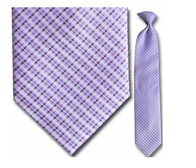 "Tie - Men's Woven Purple Plaid Clip-On Tie (Sizes 17"", 19"", 21"" + 23"")"