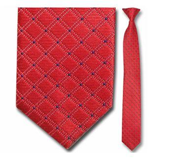 "Tie - Men's Woven Red Grid Pattern Clip-On Tie (Sizes 17"", 19"", 21"" + 23"")"