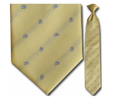 "Tie - Men's Yellow Small Paisley Pattern Clip-On Tie (Sizes 17"", 19"", 21"" + 23"")"