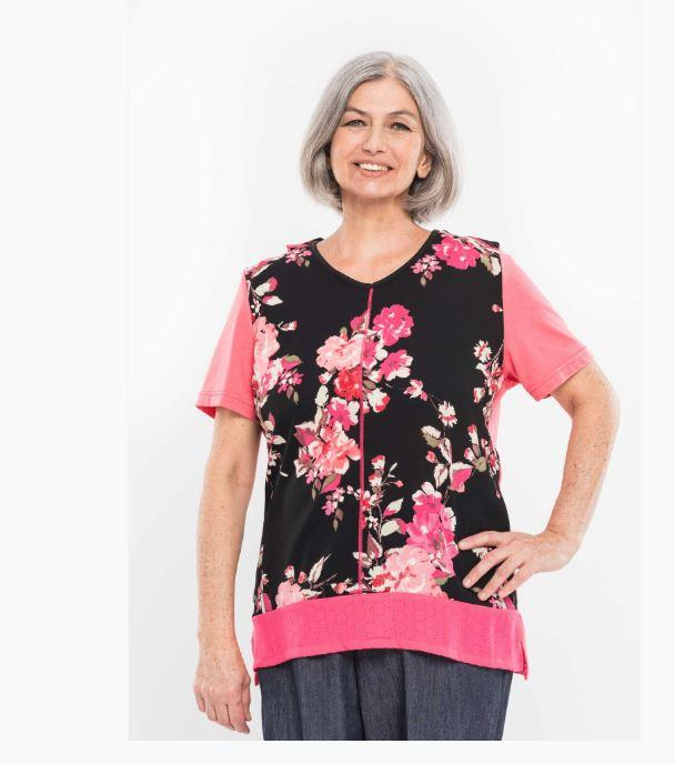 Tops - Plus Size: Women's Adaptive Top With Contrasting Top Stitching. - Black/Pink Color   (size: XXXLarge)