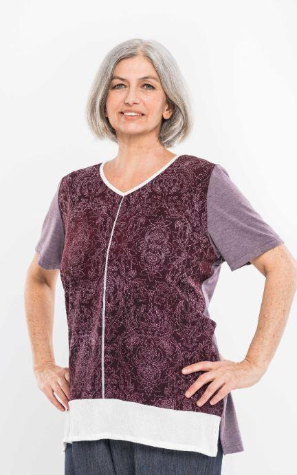 Tops - Plus Size: Women's Adaptive Top With Contrasting Top Stitching. -Bordeaux Color  (size: From XXLarge - XXXLarge)