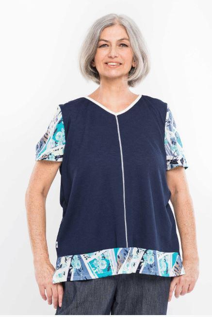Tops - Plus Size: Women's Adaptive Top With Contrasting Top Stitching.  - Navy Color (size: XXXLarge)