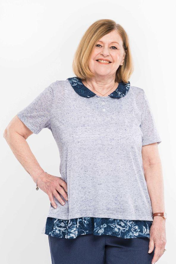 Tops - Plus Size: Women's Adaptive Top With Peter Pan Collar. - Navy Color (size: From  XXLarge To XXXLarge)