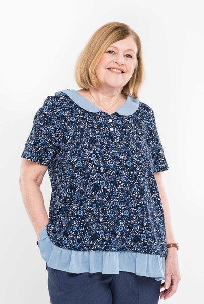 Tops - Plus Size: Women's Adaptive Top With Peter Pan Collar. - Navy/Denim Color (size: From  XXLarge To XXXLarge)