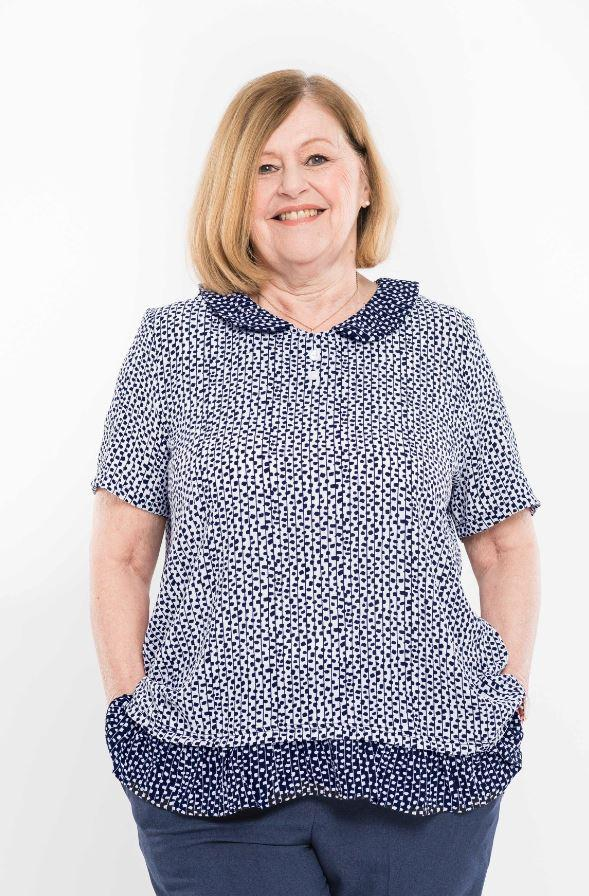 Tops - Plus Size: Women's Adaptive Top With Peter Pan Collar. - White/Navy Color (size: From XXLarge To XXXLarge)