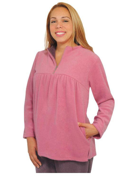 Tops - Plus Size: Women's Soft Open Back Top Apparel- Zippered Yoke (Size: 2XLarge And 3XLarge)