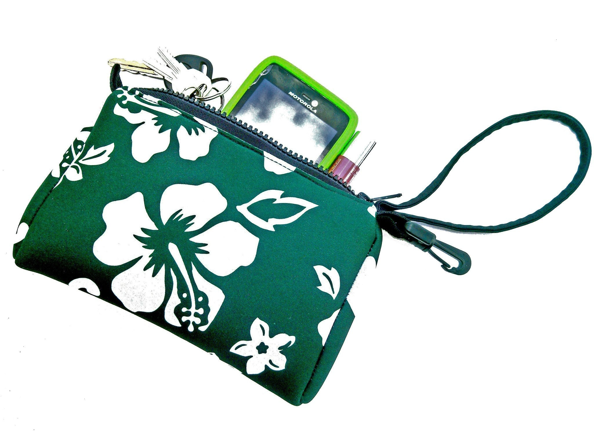 wristlet neoprene bag retro green
