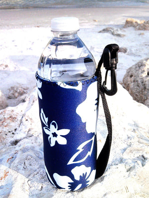 retro blue neoprene water bottle koozie