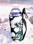 retro green neoprene water bottle koozie 16oz