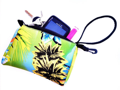 wristlet neoprene bag haole green