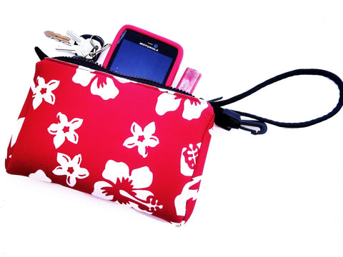 wristlet neoprene bag retro red
