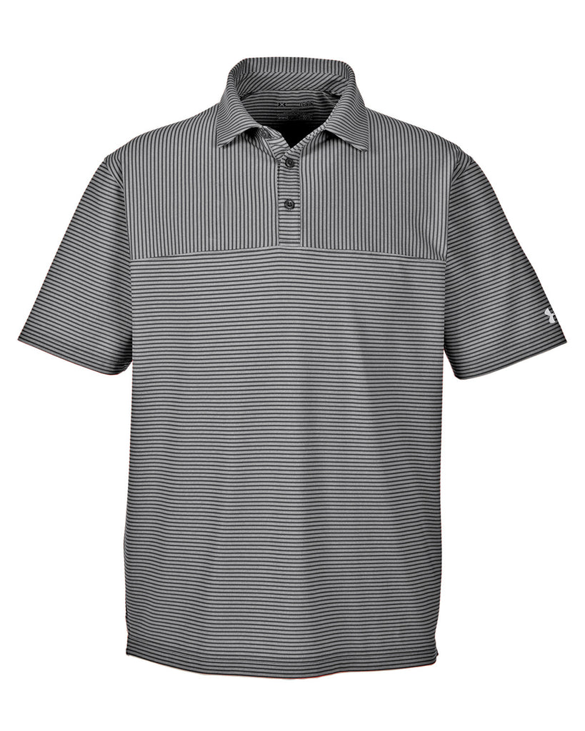 6c256d7a43 ... Under Armour Men's Clubhouse Polo Playoff Stripe Polo - Black/True Grey