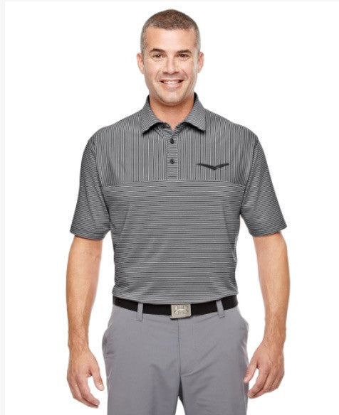 9a54760789 Under Armour Men's Clubhouse Polo Playoff Stripe Polo - Black/True ...