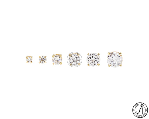 Cubic Zirconia Earring - Round Gold 3mm - 8mm