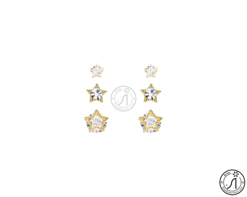 3 Piece Angel Star Stud Earring