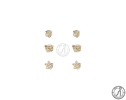 3 Piece Butterfly Flower Stud Earring
