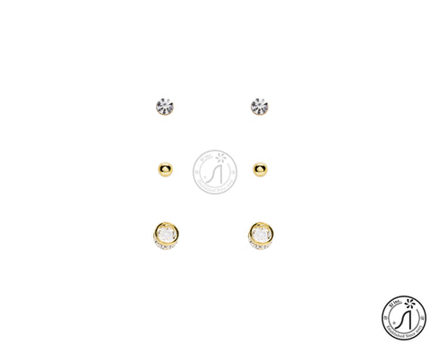 3 Piece Basic Round Stud Earring