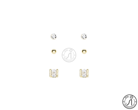3 Piece Basic Half Square Stud Earring
