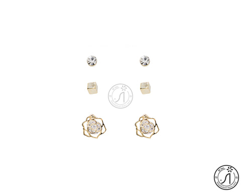 3 Piece Rose Stud Earring