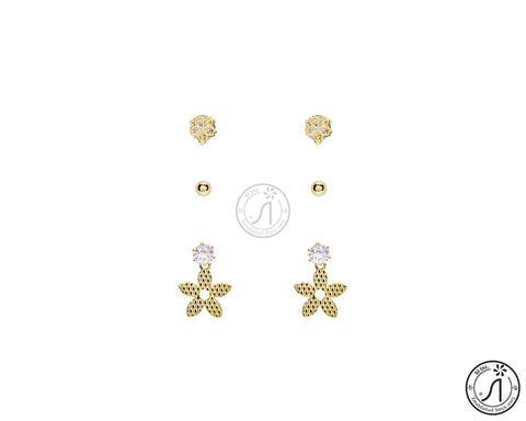 3 Piece Starfish Leaf Stud Earring