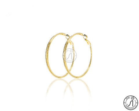Etched Texture Hoop Earring