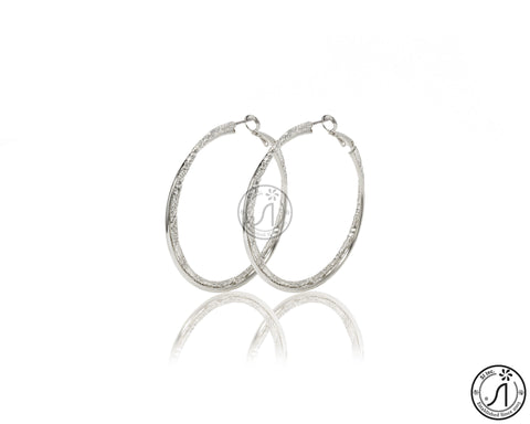 Ethched Spiral Hoop Earring
