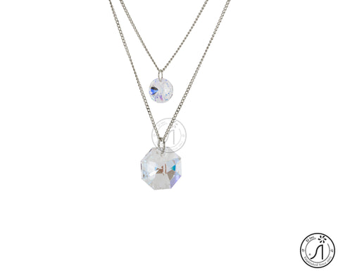 Crystal Clear Hexagon and Round Two Piece Necklace