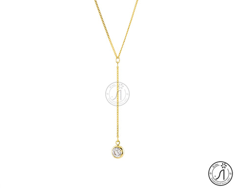Drop Down Round Cubic Necklace