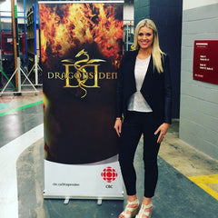 Kiera Fogg on set of CBC's Dragons Den