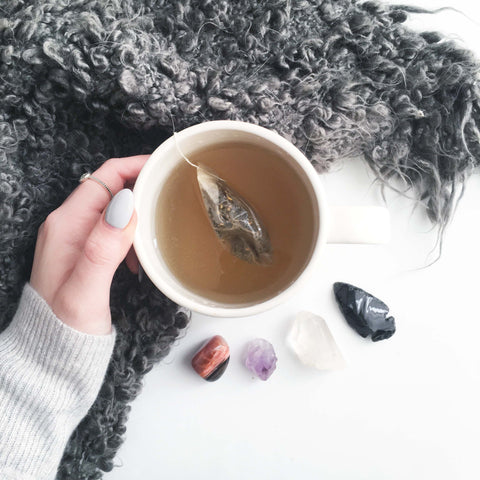 tea self care healing crystal meditation