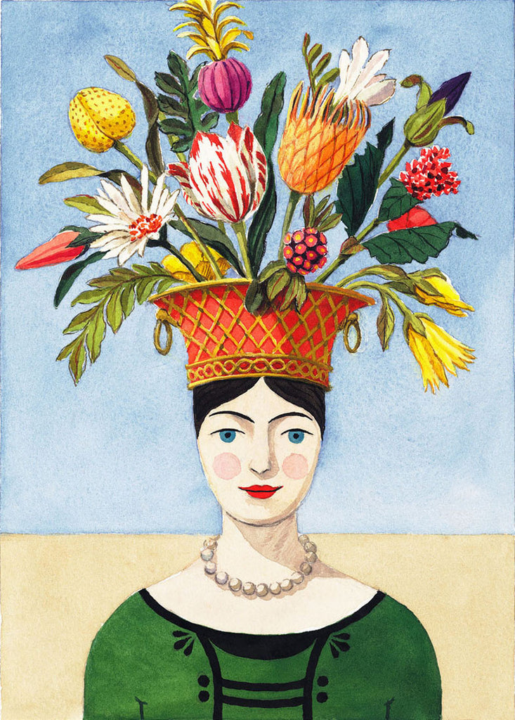 giclee print of watercolor personified flower lady by Harrison Howard