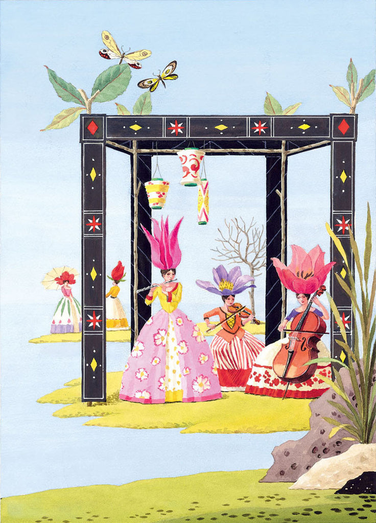 giclee print by Harrison Howard personified flowers play music