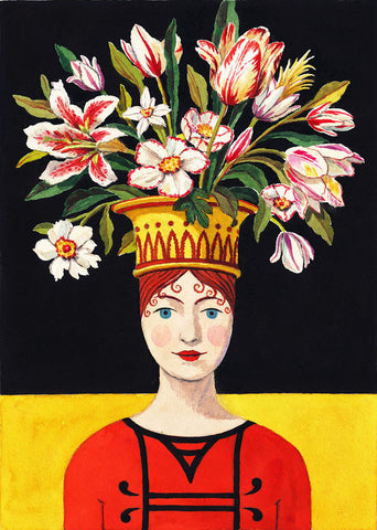 giclee print by Harrison Howard personified flower lady with bouquet on head
