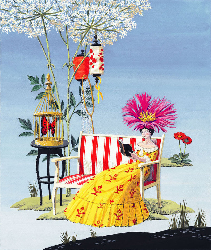 giclee print by harrison howard personified flower lady reading outside