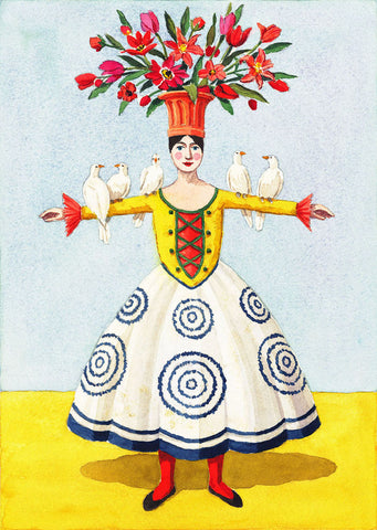 Flower Lady with Doves