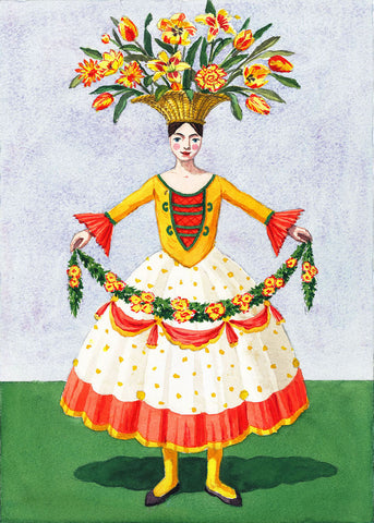Flower Lady with Garland