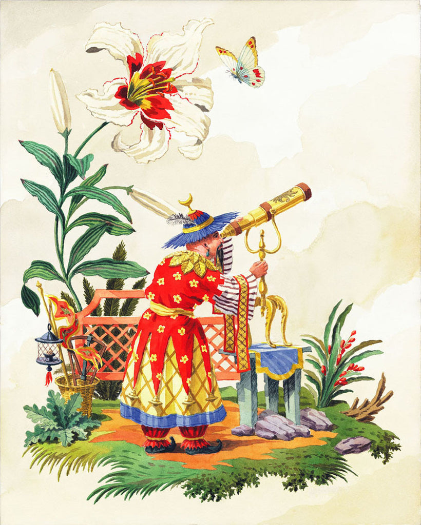 giclee print by Harrison Howard chinoiserie astronomer with telescope
