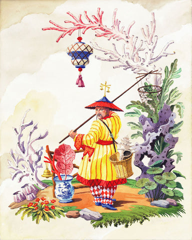 giclee print by Harrison Howard chinoiserie fisherman with coral