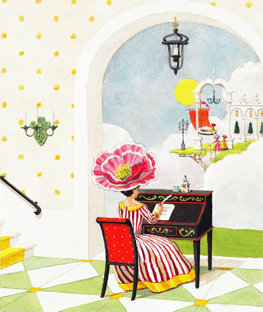 giclee print by Harrison Howard personified flower lady writing at desk
